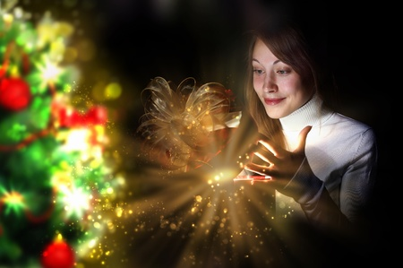 Collage of a young woman reading a magic book Stock Photo - 13220953