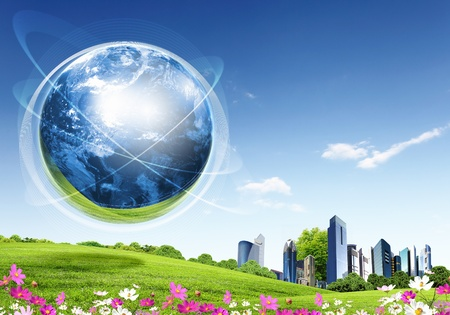 collage of green nature landscape with planet Earth above it Stock Photo - 13226590
