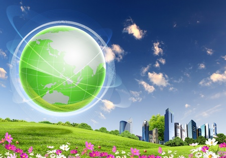 collage of green nature landscape with planet Earth above it Stock Photo - 13226565
