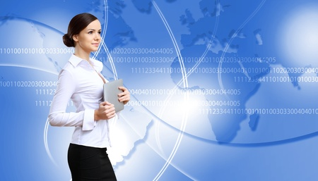 communications: Portrait of a young businesswoman making presentation Stock Photo