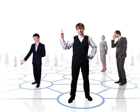 medium group of people: Human models connected together in a social network pattern Stock Photo