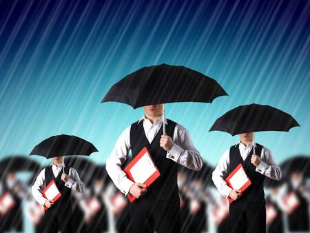 Collage with yopung businessman against weather background Stock Photo - 13227865