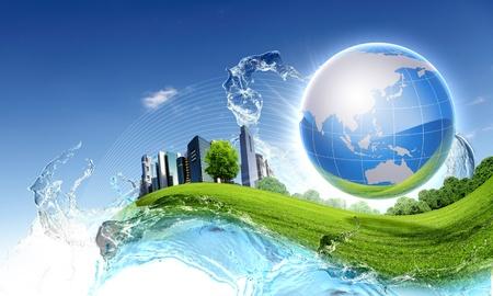 sustentabilidad: Imagen de planeta verde como s�mbolo del concepto de medio ambiente Foto de archivo