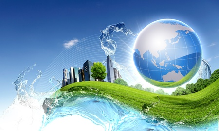 sustainable: Picture of green planet as symbol of environmental concept