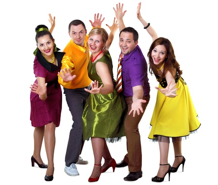 rock   roll: group of young dancing people in bright colour wear Stock Photo