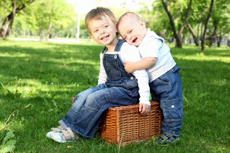 Two little brothers together in the summer park photo