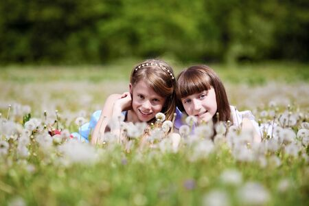 two girls spending time together in the summer park Stock Photo - 13303056