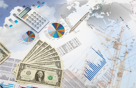 Collage of financial and business charts and graphs photo