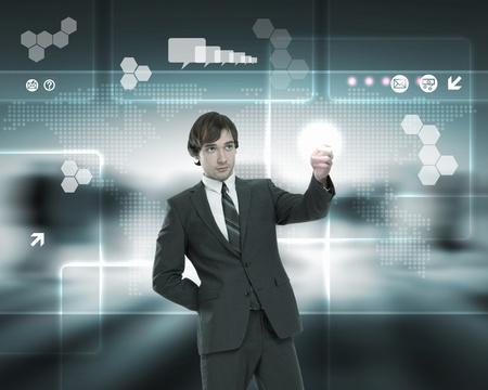 Businessman working on a virtual digital keyboard Stock Photo - 13302880