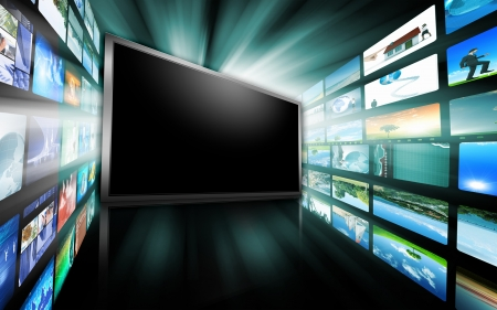 Image of multiple computer screens with various images Stock Photo - 13302772