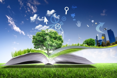 check book: Open book with green nature world coming out of its pages