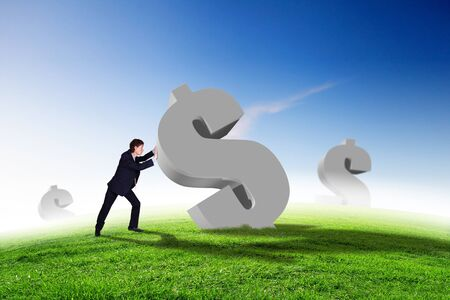 corporate greed: Collage on business and money theme with currency symbol Stock Photo