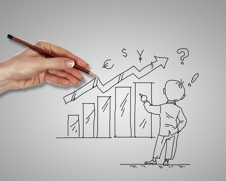 Man standing with financial charts representing growth Stock Photo - 13302464