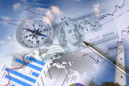 Business collage with financial charts and lighthouse on the background photo