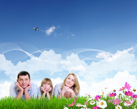 happy family spending time together outdoors  Collage  photo