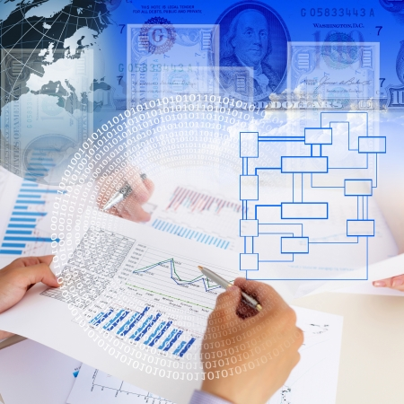 construction management project: Business collage with financial and business charts and graphs Stock Photo