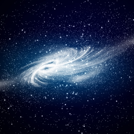 Image of glowing galaxy against black space and stars photo