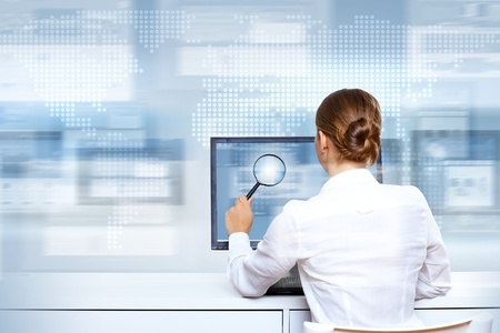 user friendly: Business woman working with virtual digital screens