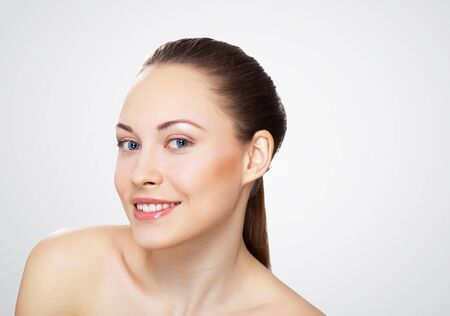 Studio portrait of young beautiful woman natural look Stock Photo - 13383183