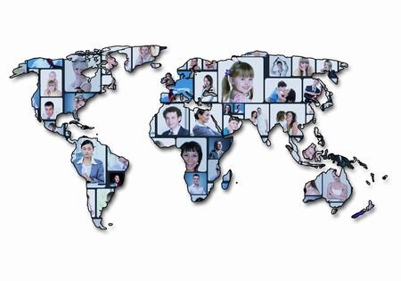 World map background with people portraits on it photo