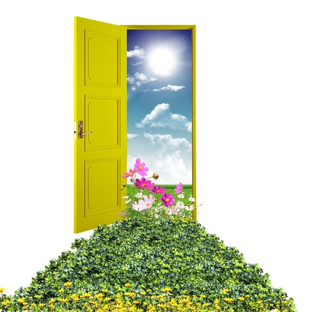 heavens: Picture of a open door leading to summer landscape Stock Photo