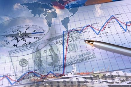 Business collage con gráficos financieros y el faro en el fondo