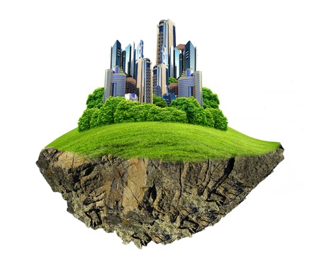 rural skyline: Image of a modern city surrounded by nature landscape