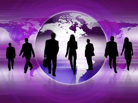 silouettes: Illustration of a crowd of business people against color background