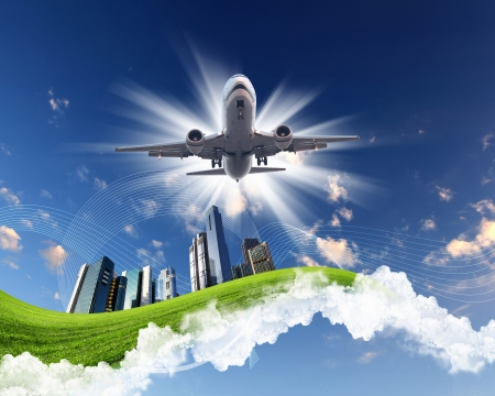 Image of plane on blue sky background