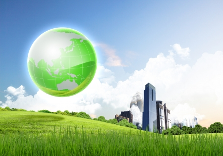 Picture of green planet as symbol of environmental concept photo