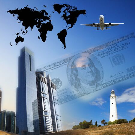 Business collage with financial charts and lighthouse on the background Stock Photo - 13919890