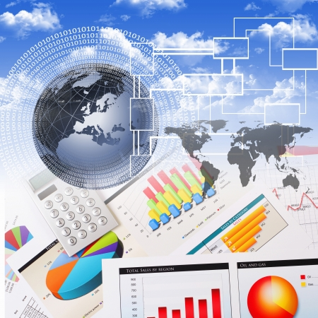 Business collage with financial and business charts and graphs Stock Photo