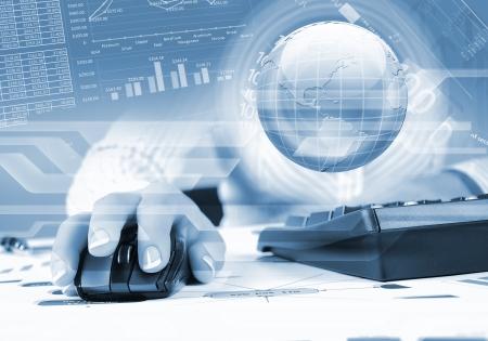 teclado: Globo azul en el fondo de la tecnolog�a digital
