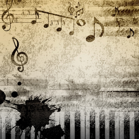 classical music: paper background with note sings on it Stock Photo
