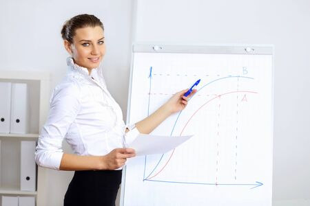 Portrait of young business woman in office Stock Photo - 14026323