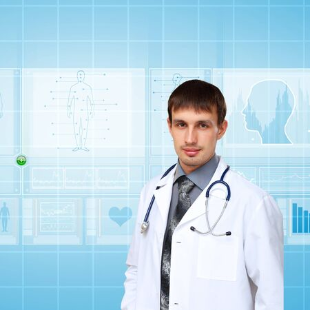 Young doctor in white uniform against technology background Stock Photo - 14027034