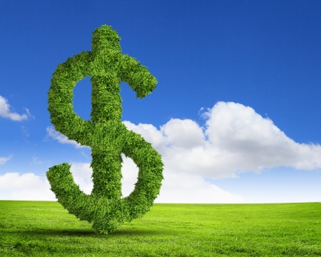 money making: Green grass  US dollar symbol against blue sky Stock Photo