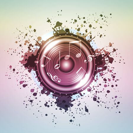 Image of music speaker against colourful background photo