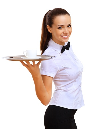 party tray: Portrait of young waitress with an empty tray
