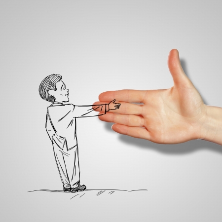 promise: Drawing of a man shaking human hand Stock Photo