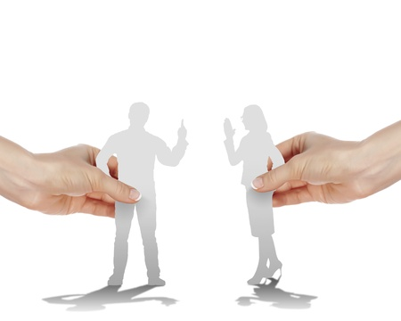 Figures of man and woman arguing with each other photo