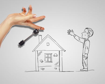 property development: Drawing of a man with a house and key