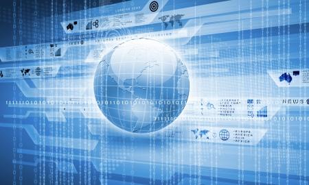 Blue globe on the digital technology background photo