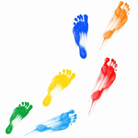 dirty feet: Colourful human foot prints on white background
