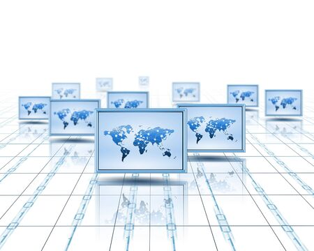 Computer screens with an image of the world on them Stock Photo - 14056524