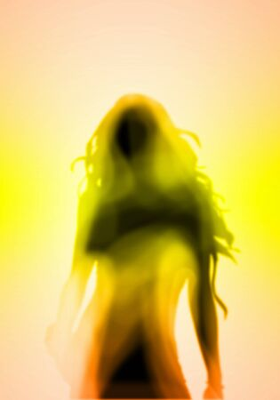 hairdress: Image with a blurred female silhouette against colour background