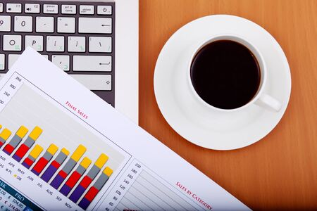 Image of business table with a cup of coffee and norebook Stock Photo - 14068861