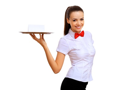 Portrait of young waitress with an empty tray Stock Photo - 14080399