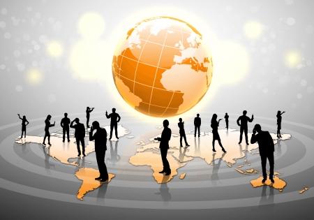 figuras humanas: Las figuras humanas conectadas entre s� en la red de comunicaci�n