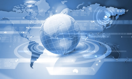 Blue globe on the digital technology background photo